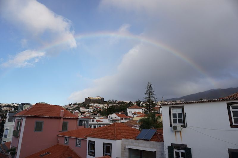 El arco iris en Funchal, desde la terraza de nuestro apartamento