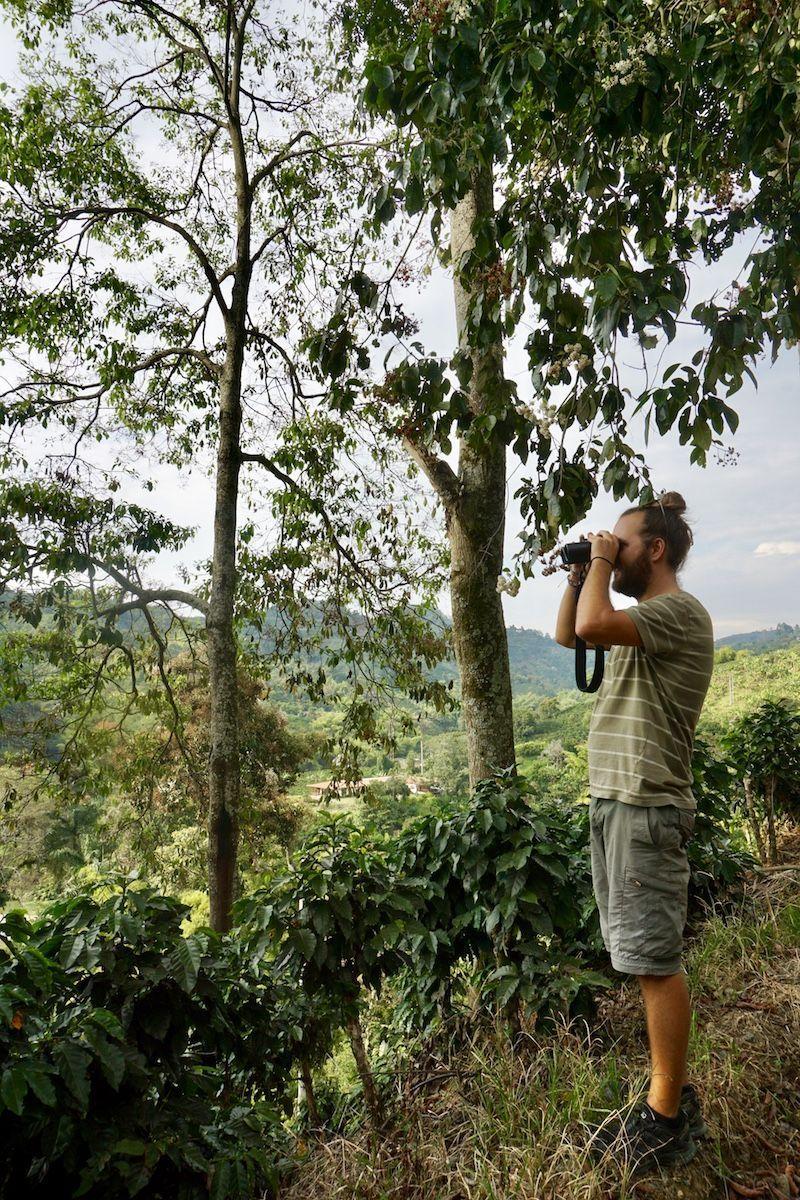 Chris avistando pájaros con los prismáticos que te prestan en la hacienda