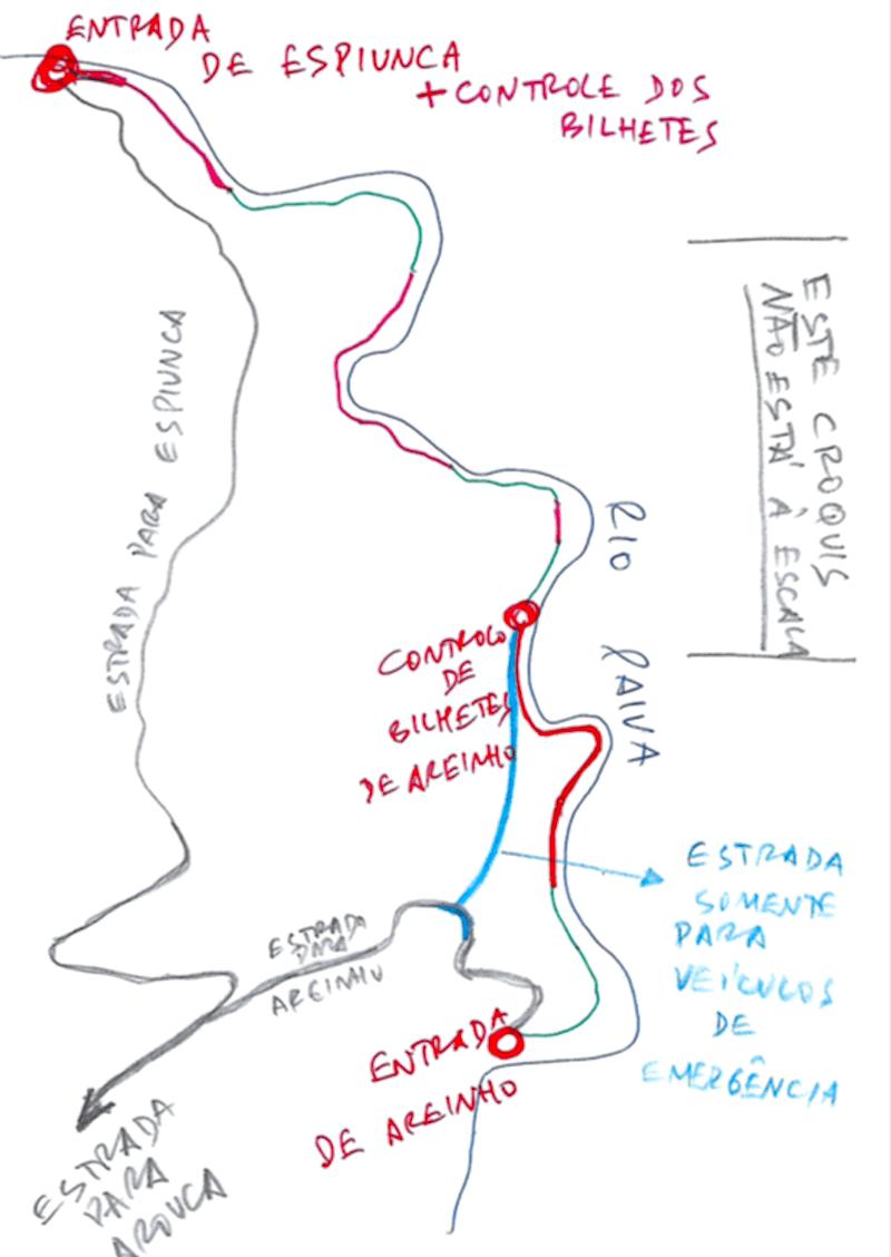 Esquema dos Passadiços do Paiva feito por Manuel Fernandes, pai da Inês